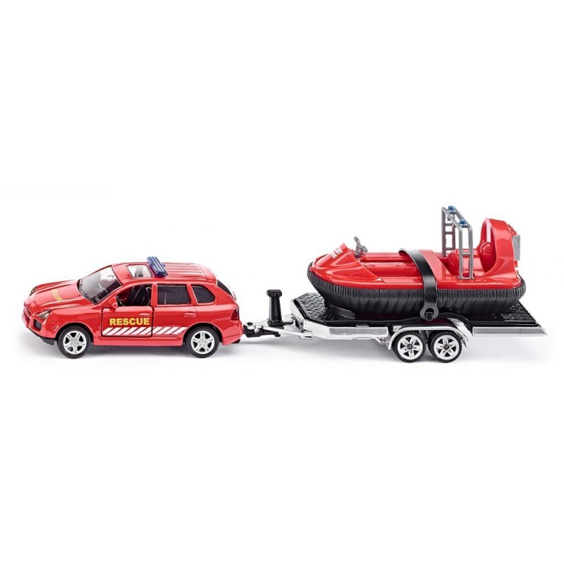 Porsche Cayenne with trailer and hovercraft