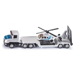 Scania mit Tieflader und Hubschrauber Polizei
