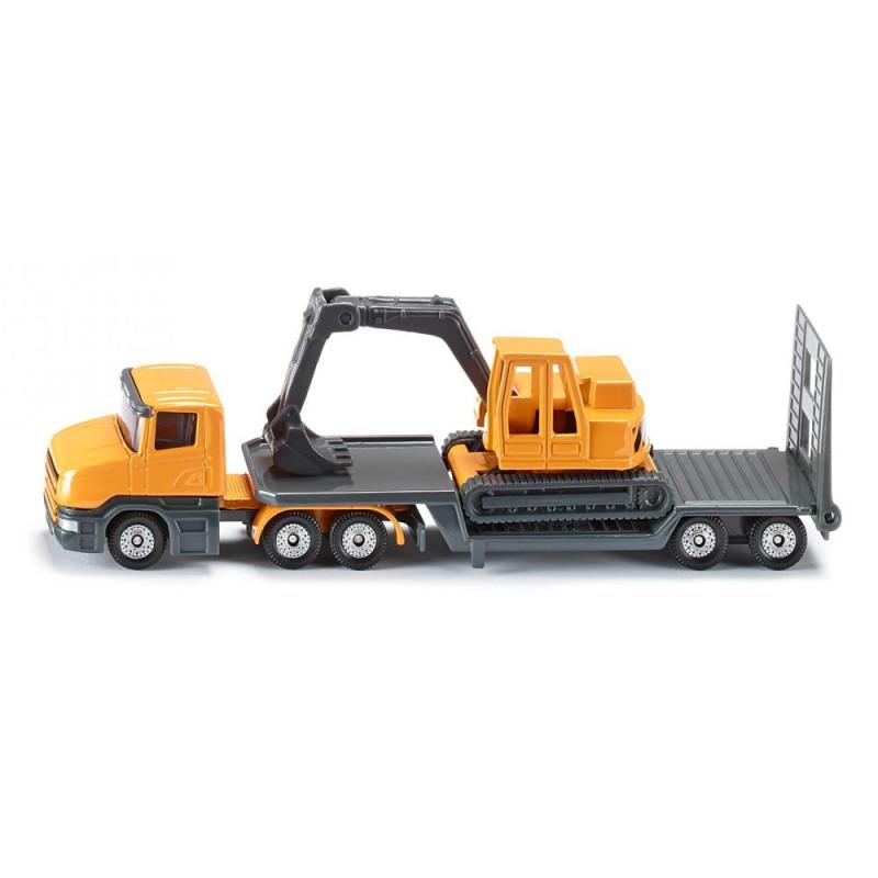 Scania mit Tieflader und Bagger
