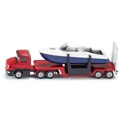 Scania mit Tieflader und Boot