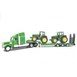 Remorque surbaissée avec 2 tracteurs John Deere