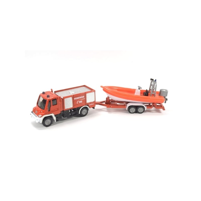Unimog fire service with lifeboat