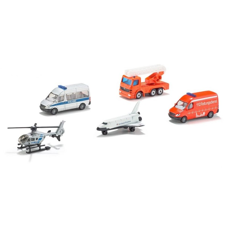 Giftset 3: Helicopter, shovel, 2x pick-up en kiepwagen