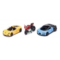 Sports cars and motorbike set