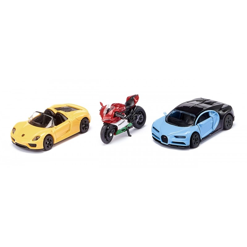 Sports cars and motorbike set