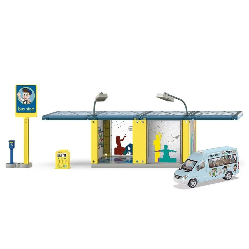 Bus stop with school bus